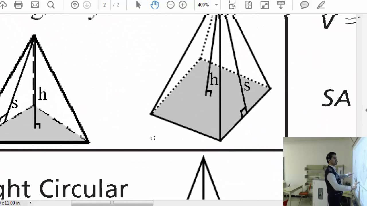 worksheet Surface Area Of A Pyramid how to calculate volume and surface area of any right pyramid pyramid