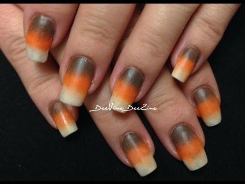 Indian Corn Candy Corn Nails For Autumn Fall And Thanksgiving Youtube