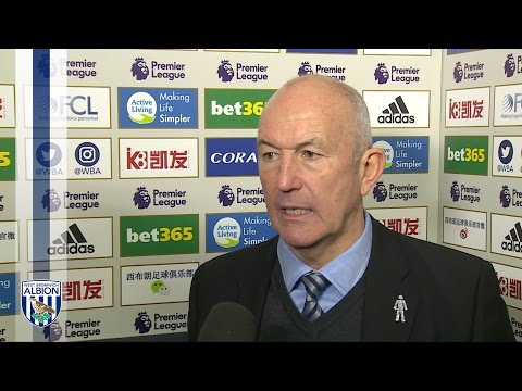 Tony Pulis reacts to Albion's 2-0 win over Sunderland in the Premier League