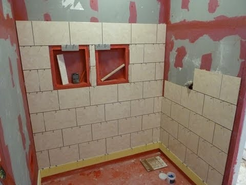 Part 1 how to install tile on shower tub wall step by step youtube Install tile shower