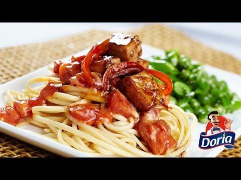 spaghetti cerdo y verduras
