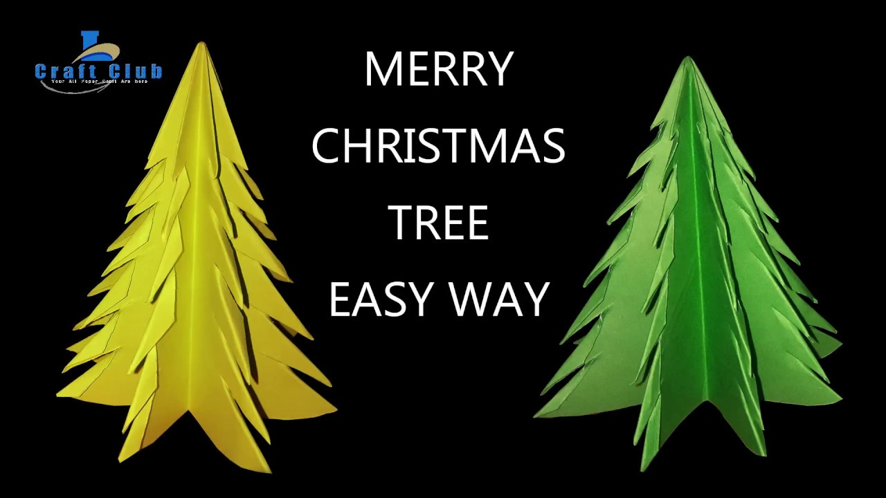 3d paper christmas tree easy christmas decorations to make at home lina 39 s craft club youtube. Black Bedroom Furniture Sets. Home Design Ideas