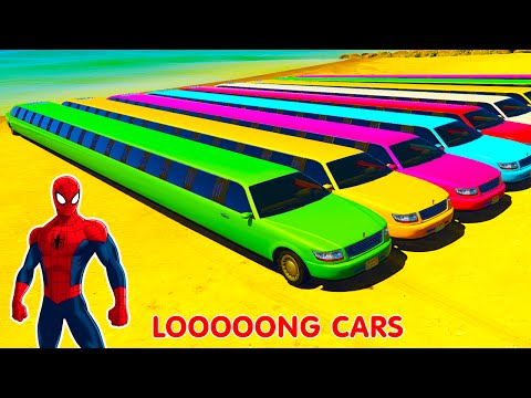 COLOR LONG CARS in Spiderman Cartoon Cars for Kids and Nursery Rhymes Songs for Children