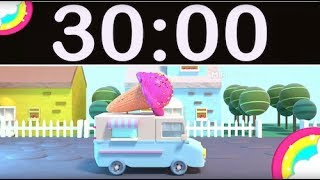30 Minute Timer Countdown with Music for Kids Ice Cream Truck & Rainbow!