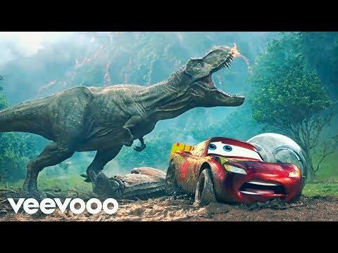 Pixar Cars  Jurassic World TRex Vs Lightning McQueen