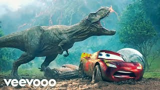 Pixar Cars - Jurassic World -T-Rex Vs Lightning McQueen - Pixarized Cars Jeep