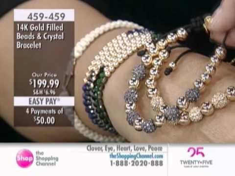 Sundar Designs 14K Gold Filled Beads and Crystal Ball Bracelet at