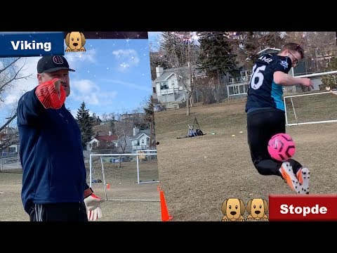 IRL Football Skill Challenges Vs Viking! GoPro Cam, Chip Shots, And More Soccer Challenges!