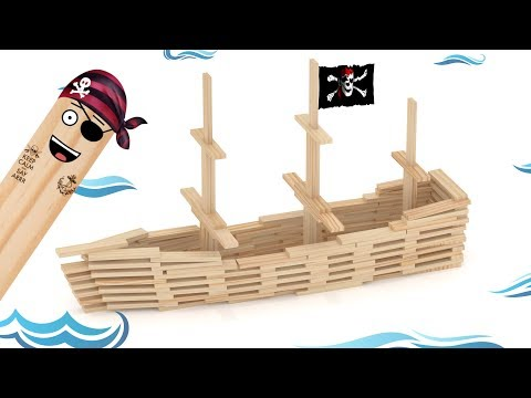 Pirate Ship - Brain Blox Wooden Building Planks