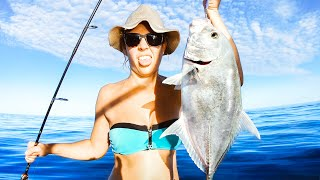 My Sister Caught Her Biggest Fish Ever Living From The Ocean (Crayfish Catch & Cook) - Ep 180