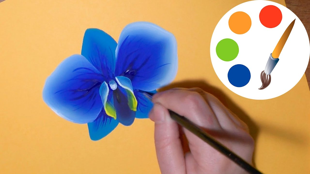 How To Paint The Blue Orchid Paint A Flower Irishkalia Youtube