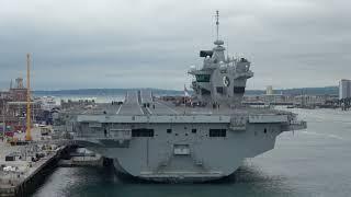 HMS Queen Elizabeth in Portsmouth Harbour Seen from a Ferry (4k)