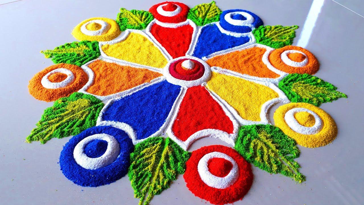 Very Simple and Easy Beautiful Rangoli Designs For Diwali Festival/दिवाली की सुंदर रंगोली बनाये –