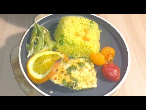 saumon-aux-poireaux-et-agrumes-accompagné-de-riz-aux-légumes.