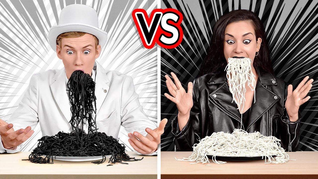 ¡DESAFÍO BLANCO VS. NEGRO! Compra y come todo de un color durante 24 horas, por 123 GO! CHALLENGE