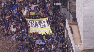 Large crowds gather in London to protest Brexit thumbnail