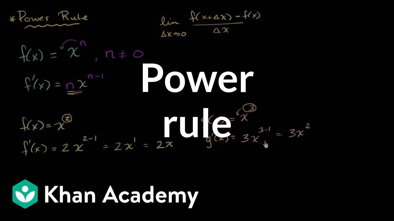 Power rule (video)   Applying the power rule   Khan Academy