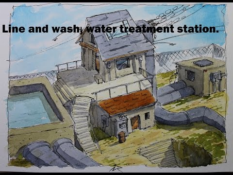 Line and wash, water treatment station,urban sketching,watercolor.Nil Rocha