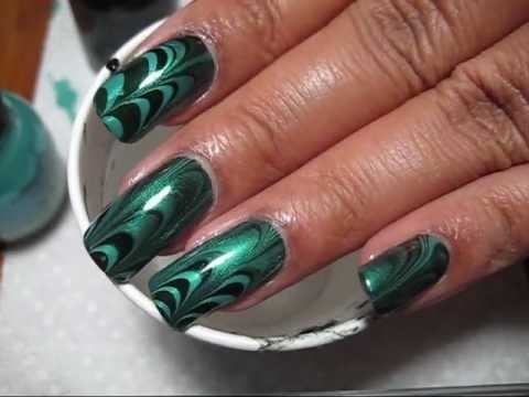 teal & black water marble nail