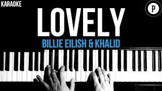 Billie Eilish & Khalid - Lovely Karaoke SLOWER Acoustic Piano Instrumental Cover Lyrics