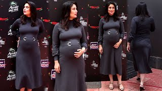 Heavily Pregnant Kareena Kapoor Flaunts Her Baby Bump In Grey Tight Dress Youtube