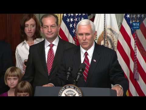 Vice President Pence Participates in a Swearing-In Ceremony for Alex Acosta as Secretary of Labor