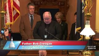 Sen. Proos welcomes Father Creagan to the Michigan Senate to deliver the invocation