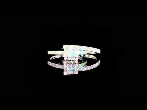 Engagement Ring And Wedding Band Set 3 4 Carat In 14k White Gold