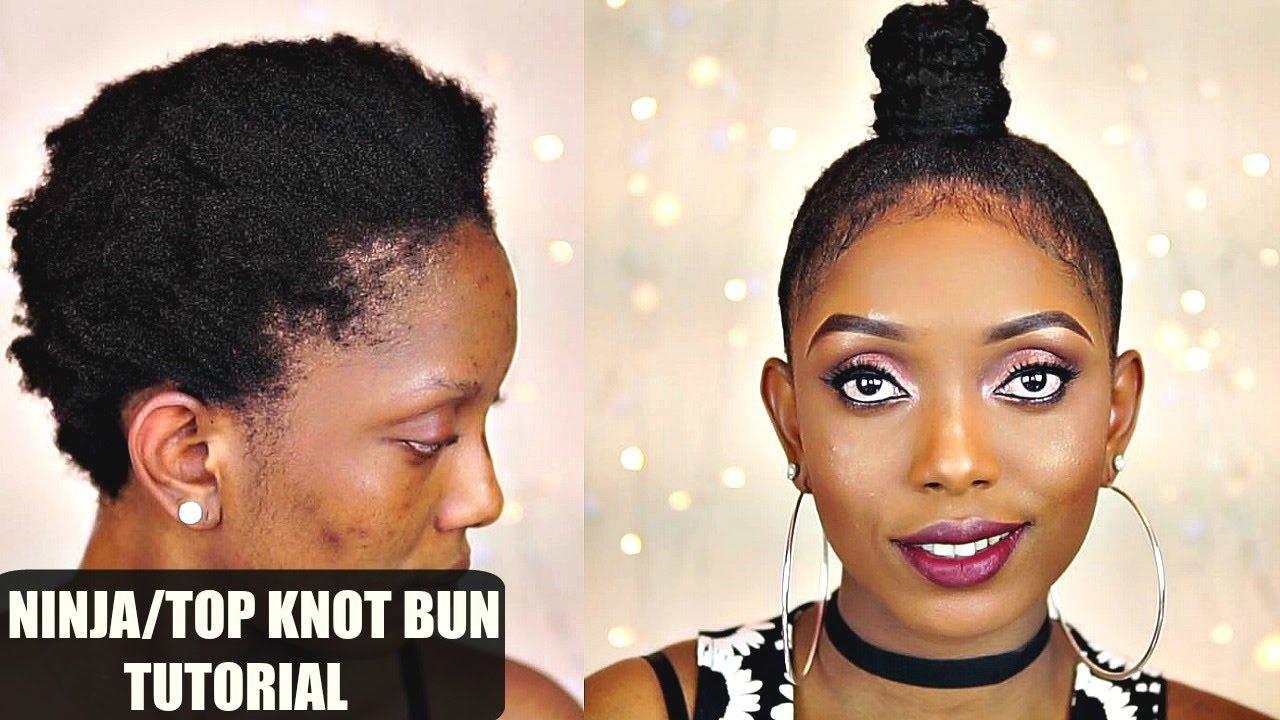 How to ninja top knot bun tutorial on short 4c natural hair collab how to ninja top knot bun tutorial on short 4c natural hair collab youtube pmusecretfo Choice Image