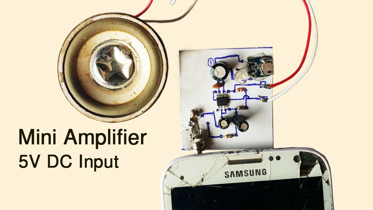 How To Create Easy Mini Amplifier Circuit Input 5v Dc At Home Youtube 20 Watt Stereo Audio Using Tda2005 Diagram