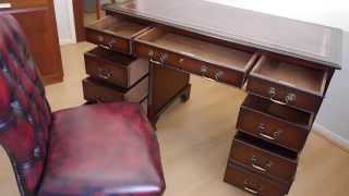 Antique Style Twin Pedestal Mahogany Writing Desk & Oxblood Chesterfield Chair