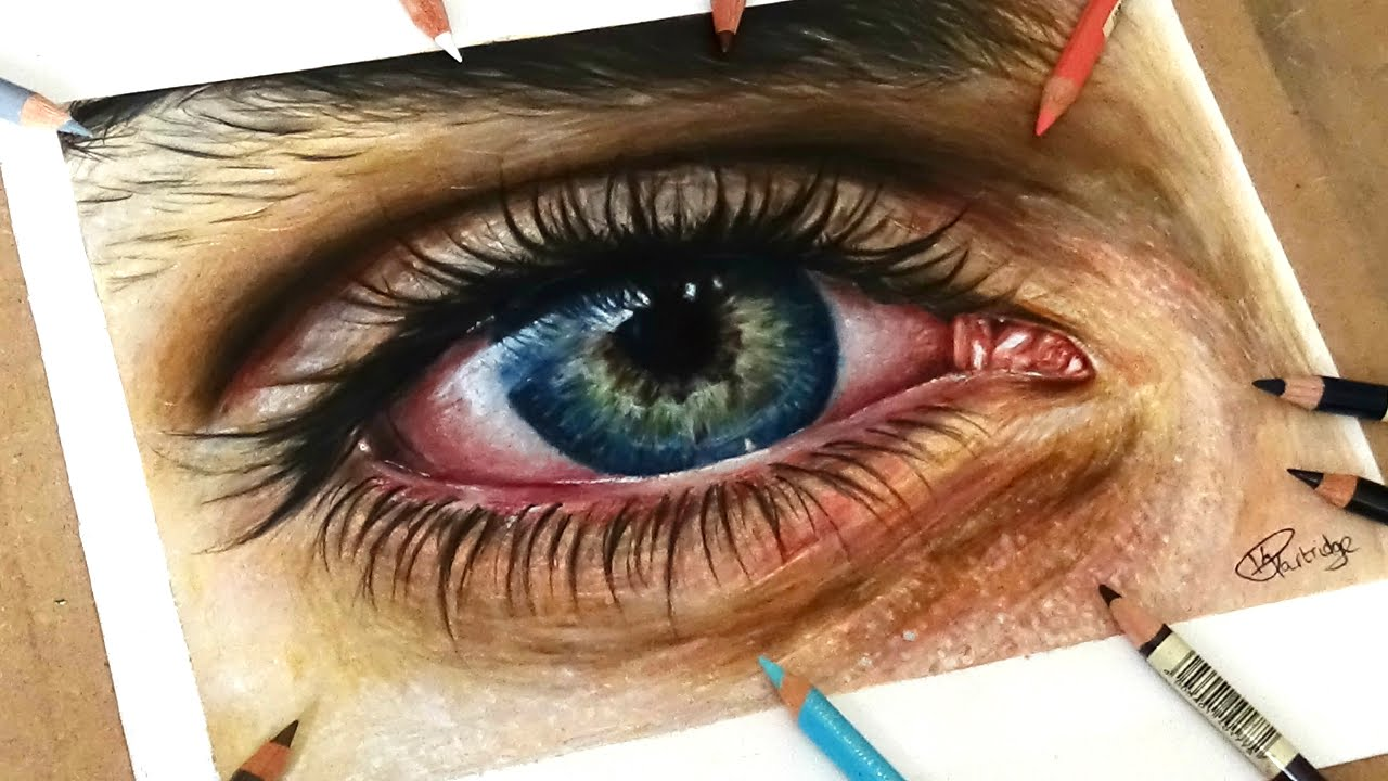 speed drawing drawing a realistic eye in coloured pencil youtube