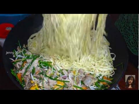 Family Healthy Food, Fried Noodle With Mix Meat And Vegetables, Asian Family Food