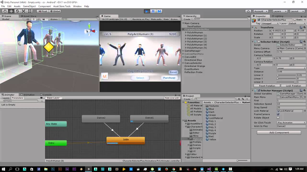 Character Selector Unity Asset