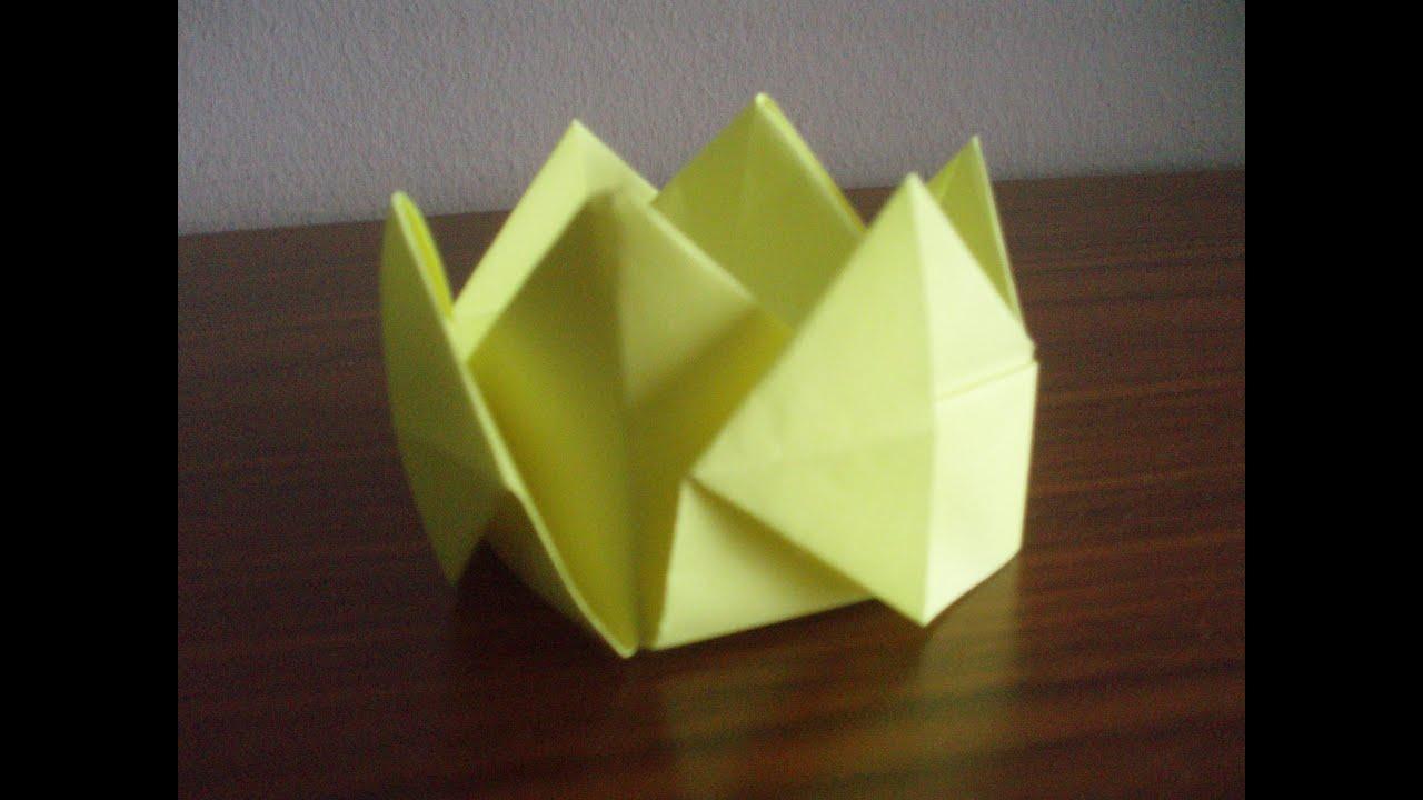 Como hacer una corona Origami3 - YouTube