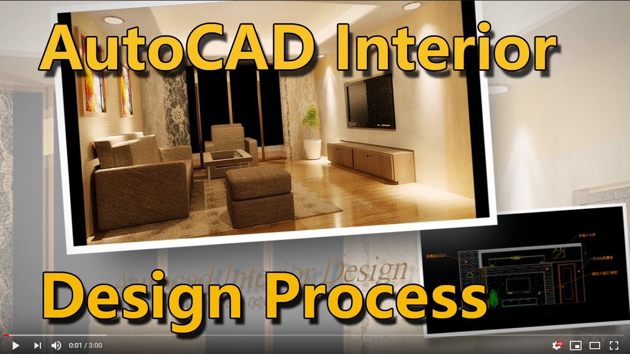 AutoCAD Interior Design Process(2D drawing to 3D realistic scene ...