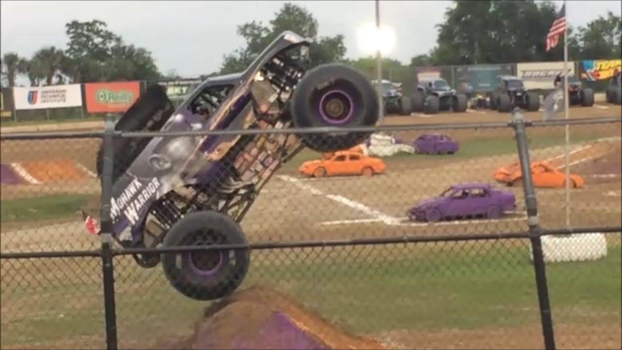 Monster jam wheelie comp bubba raceway ocala florida 4 18 15 youtube