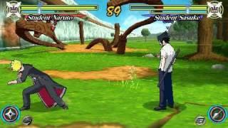 Naruto Ultimate Ninja Heroes 3 PSP Gameplay Free Mode Student Naruto Vs Student Sasuke