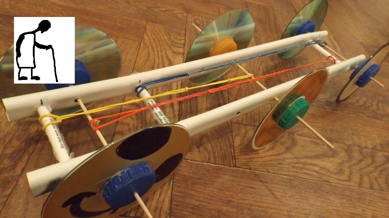Rubber Band Powered Car 4 wheel or 6 wheel drive - YouTube