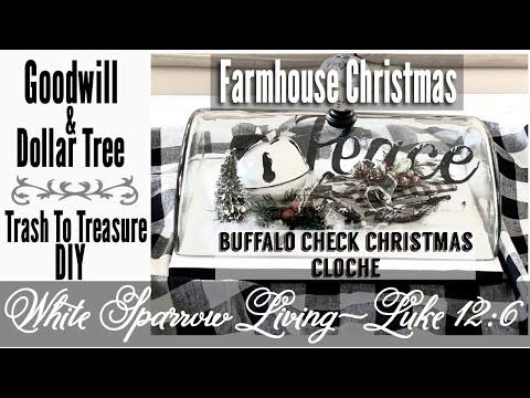 DIY BUFFALO CHECK FARMHOUSE CHRISTMAS CLOCHE   GOODWILL & DOLLAR TREE TRASH TO TREASURE