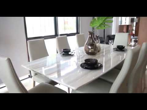 crownlivin T53 Marble Dining Table (2.1m x 1.1m) + 8 Dining Chair (C1207) – Silver Color