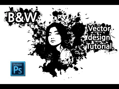 블랙 앤 화이트 벡터 디자인 (포토샵) - Black and white Vector design Tutorial. thumbnail