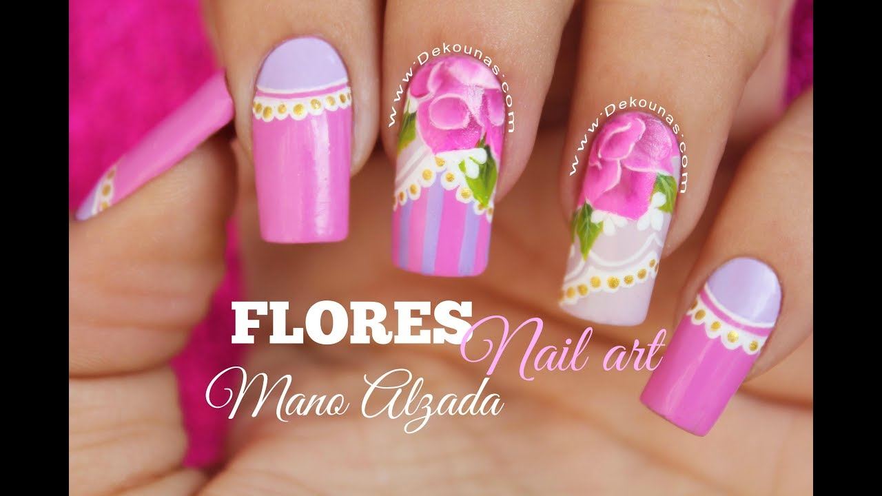 Diseño De Uñas Flores A Mano Alzada One Stroke Nail Art Youtube