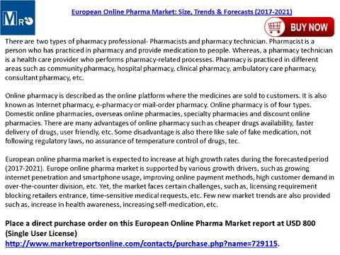 Online Pharma Market Analysis, Trends, Size, Outlook and Forecasts to 2021