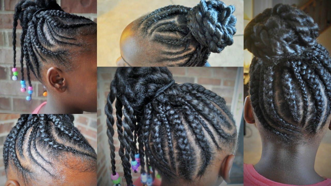 Hair Styles Feed In Braids: Feed In Cornrows Tutorial On Girls 4C Hair