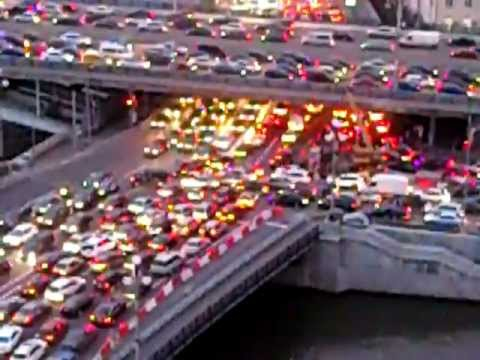 Moscow traffic jam near Kremlin