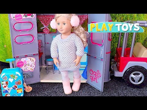 Baby Doll Travel Routine - Playing American Girl dolls travel suitcase, dress up in doll bedroom