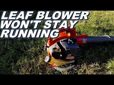 craftsman leaf blower has a problem staying running after  carburetor on a craftsman model 358