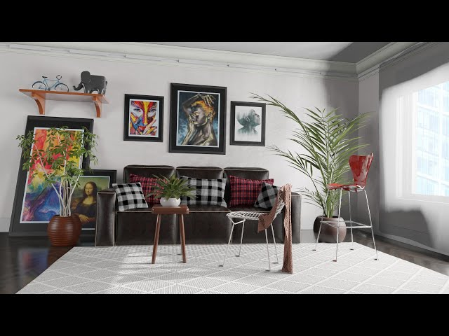 Modern living room 3D visualization [Created in just two days]