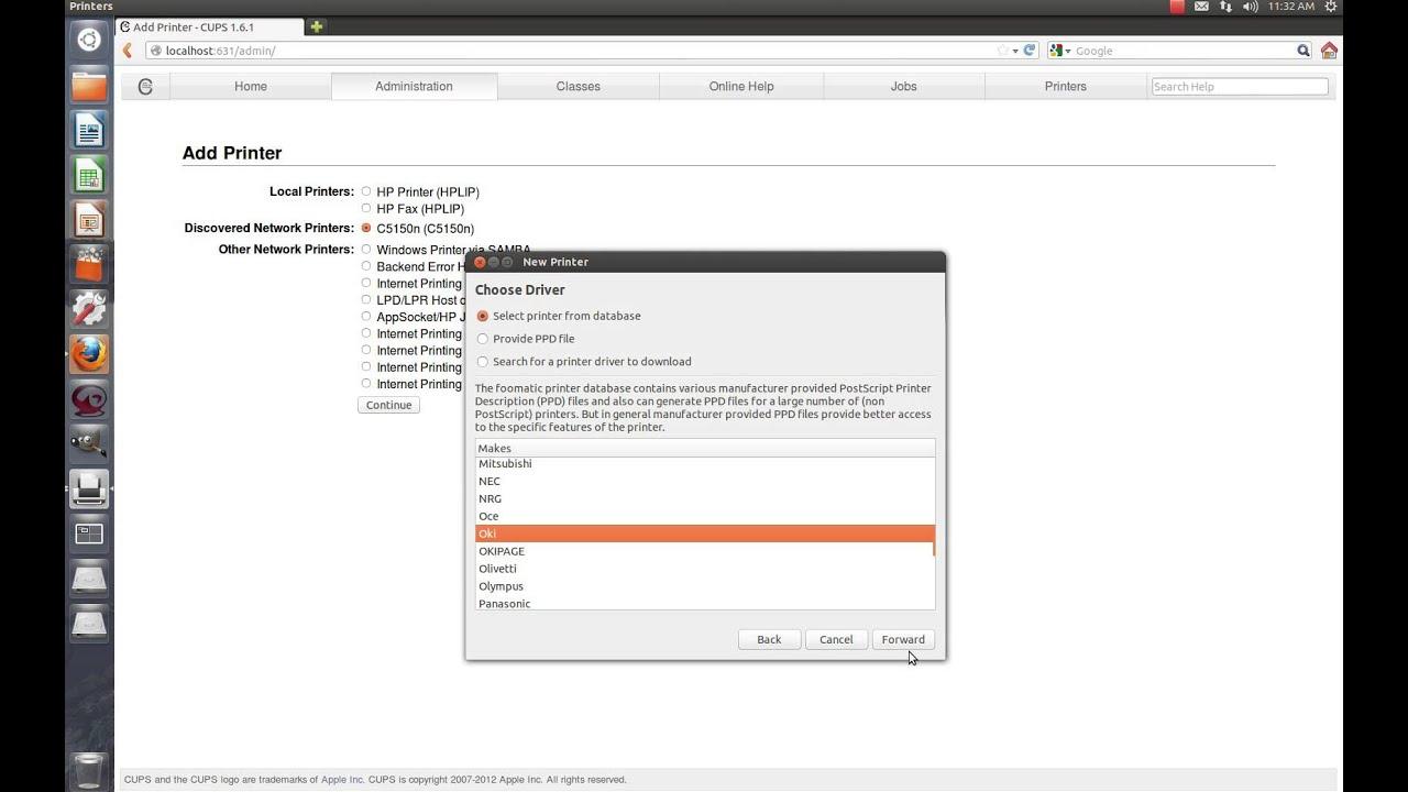 search for network printers ubuntu